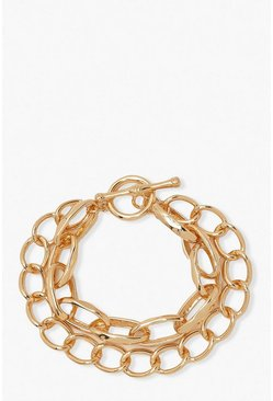 Gold Chunky Chain T Bar Layered Bracelet