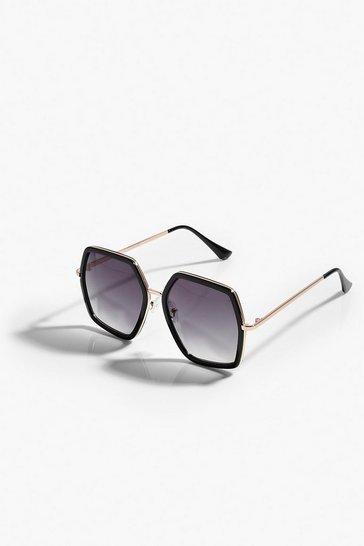 Black Oversized Gradient Tinted Sunglasses