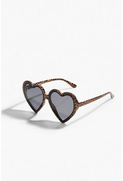 Black Heart Frame Tinted Sunglasses