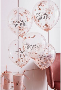 Rose gold metallic Team Bride Confetti Balloon Cluster