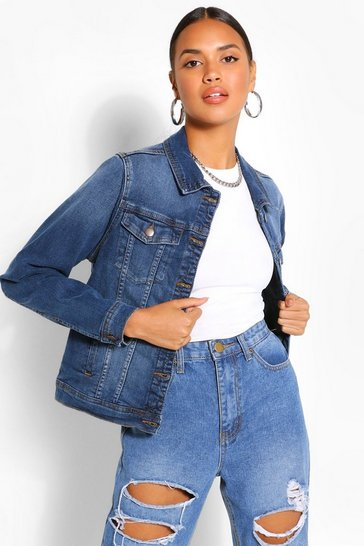 Mid blue blue Stretch Denim Jacket