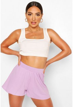 Violet purple Basic Ribbed High Waist Floaty Flippy Shorts