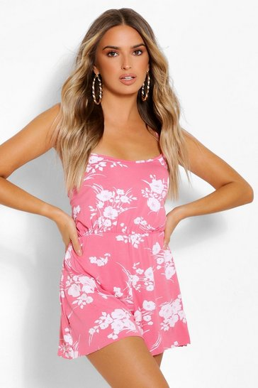Coral pink Floral Strappy Playsuit