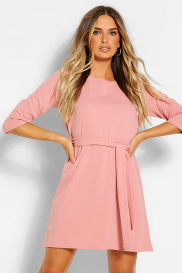 Blush pink 3/4 Sleeve Belted Shift Dress