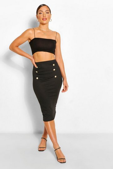 Black Military Button Tailored Midi Skirt
