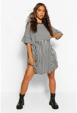Black Contrast Stripe T-shirt Smock Dress