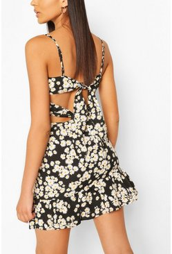 Black Daisy Floral Print Tie Back & Frill Skirt Co-ord