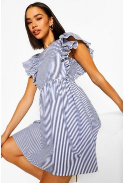 Blue Frill Sleeve Stripe Mini Dress