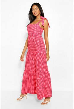 Red Polka Dot Strappy Maxi Dress