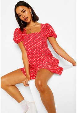 Red Polka Dot Square Neck Mini Dress