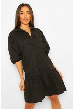 Black Button Down Puff Sleeve Tiered Smock Dress