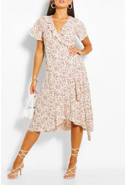 White Ditsy Floral Print Ruffle Wrap Midi Tea Dress