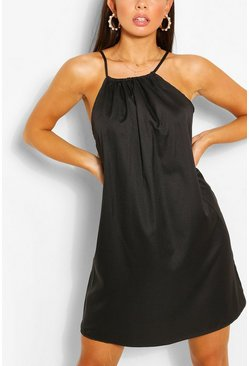 Black Halterneck Swing Dress