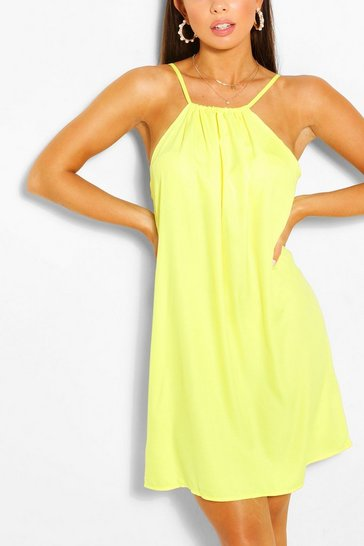 Chartreuse yellow Halterneck Swing Dress