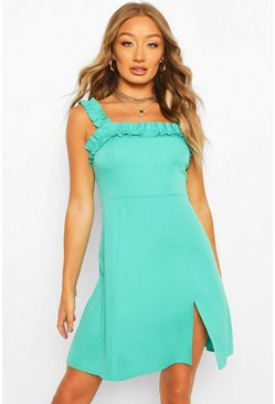 Bright green Ruffle Strap Square Neck Swing Dress