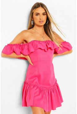 Hot pink Off The Shoulder Frill Hem Swing Dress