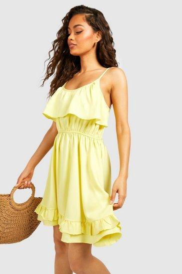 Lemon yellow Strappy Frill Detail Swing Dress
