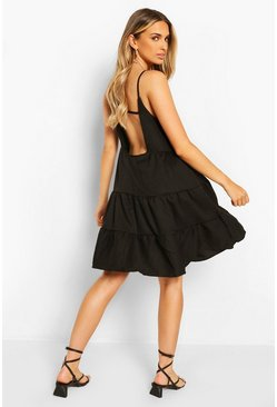 Black Strappy Low Back Tiered Swing Dress