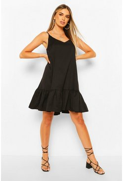 Black Strappy Drop Hem Swing Dress