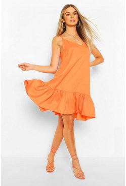 Orange Strappy Drop Hem Swing Dress