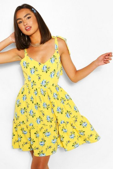Lemon yellow Floral Print Tie Strap Frill Hem Swing Dress
