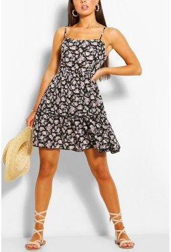 Lilac purple Floral Print Strappy Tiered Swing Dress