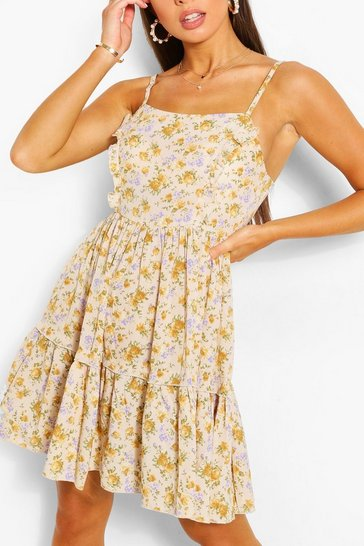 Mustard yellow Floral Print Strappy Tiered Swing Dress