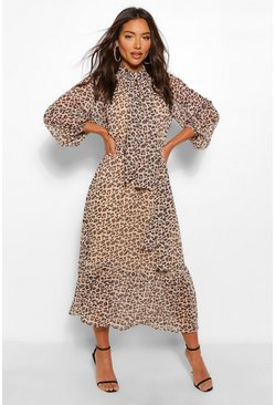 Brown Leopard Print Balloon Sleeve Tie Neck Midaxi Dress