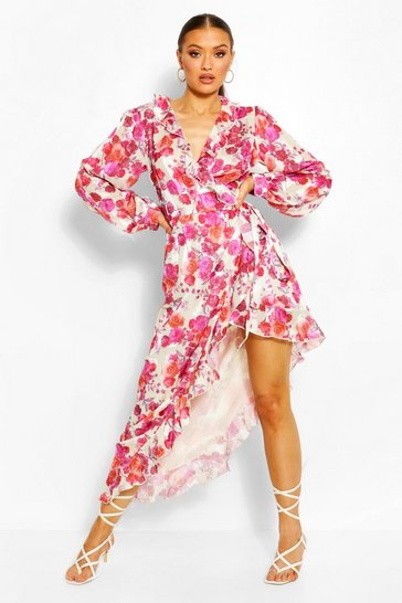 Pink Floral Ruffle Front High Low Maxi Dress