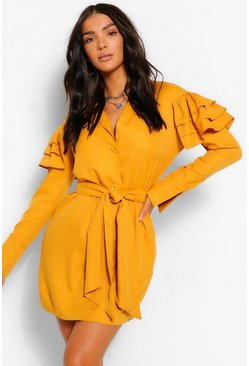 Mustard yellow Ruffle Sleeve Belted Shirt Dress