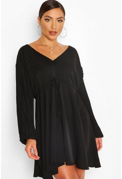 Black Batwing Pleated Plunge Skater Dress