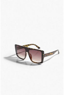 Brown Flat Top Oversized Tort Sunglasses