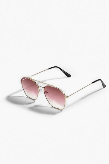 Aviator Pink Tint Metal Frame Sunglasses