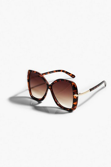 Brown Tortoiseshell Oversized Faded Sunglasses