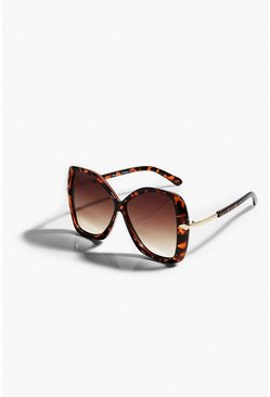 Brown Tortoiseshell Oversized Faded Sunglasses