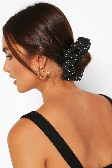 Black 3 Pack Polka Dot Scrunchies