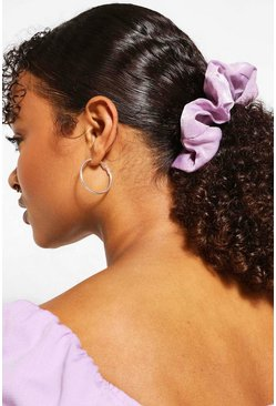 Lilac 2 Pack Pastel Satin Scrunchies