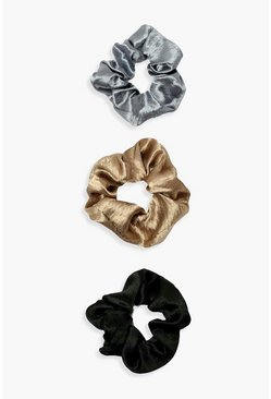 Black 3 Pack Satin Scrunchies