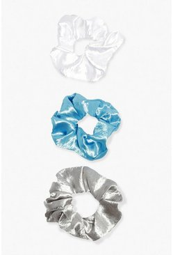 Blue 3 Pack Satin Scrunchies