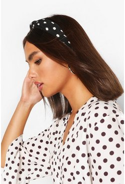 Black Polka Dot Plisse Twist Knot Headband