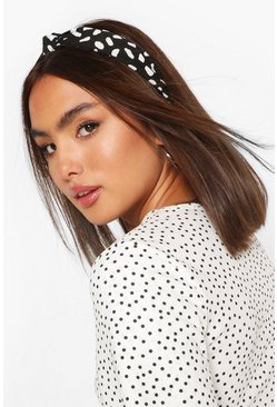 Black Smudge Polka Dot Twist Knot Headband
