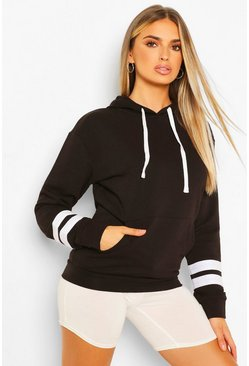 Black Arm Stripe Detail Oversized Hoody