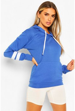 Cobalt Arm Stripe Detail Oversized Hoodie