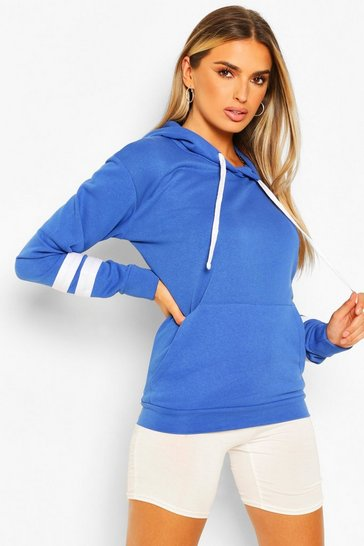 Cobalt blue Blue Arm Stripe Detail Oversized Hoodie