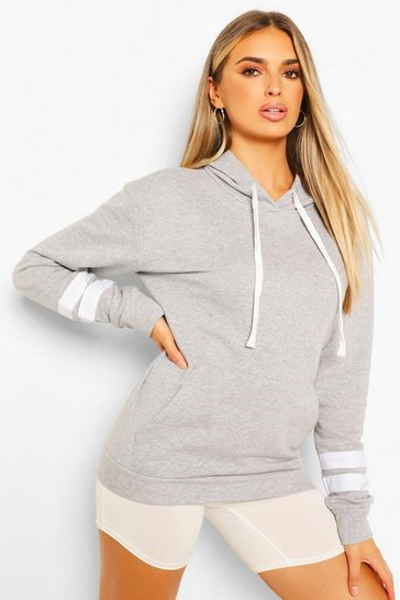 Grey Arm Stripe Detail Oversized Hoodie