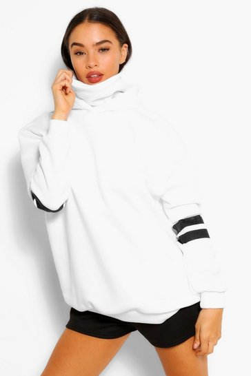 White Arm Stripe Detail Overszied Hoody With Snood