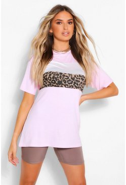 Pink Leopard Contrast Colour Block T-Shirt