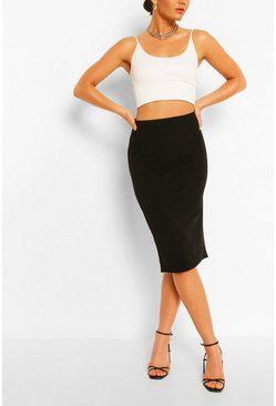 Black Tailored Elasticated Waist Midi Skirt