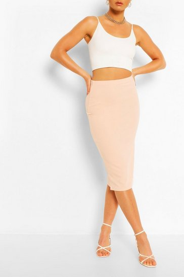 Blush Tailored Elasticated Waist Midi Skirt