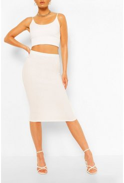 Ivory white Tailored Elasticated Waist Midi Skirt